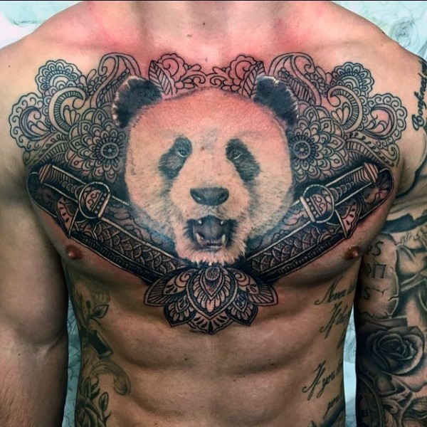 Japanese style colored chest tattoo of Panda bead with ornamental flowers