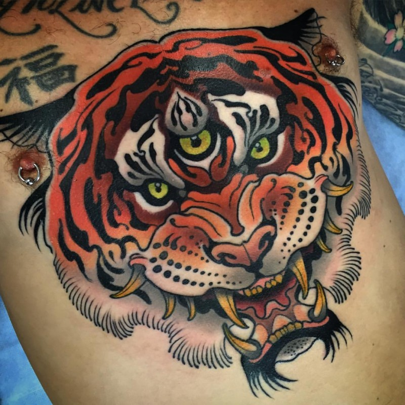 Japanese style colored shoulder tattoo of fantasy tiger
