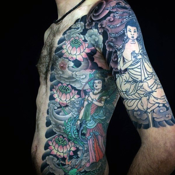 Japanese style half colored shoulder and chest tattoo of Buddha and flowers