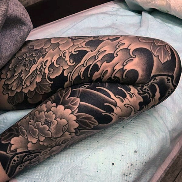 Japanese traditional black and white waves with flowers for Japanese wave and flower tattoo