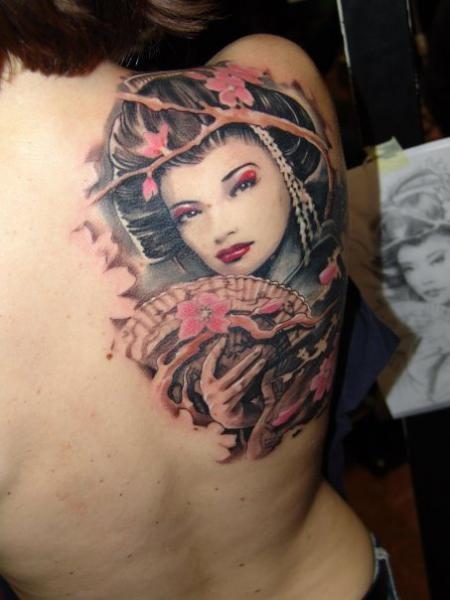 Japanese traditional colored back tattoo of beautiful geisha