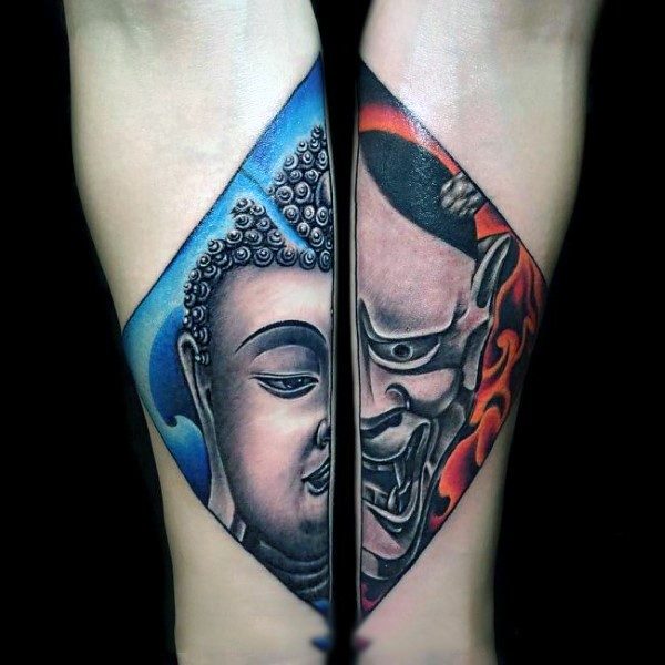 Japanese traditional colored forearms tattoo of demonic face with Buddha face