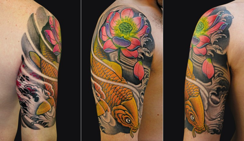 Japanese traditional colored shoulder tattoo of carp fish and flower