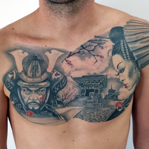 Japanese traditional style colored chest tattoo of samurai for Japanese style chest tattoos
