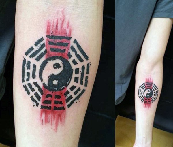 Japanese traditional style small forearm tattoo of Yin Yang symbol