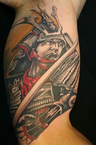 Japanese warrior tattoo design on arm