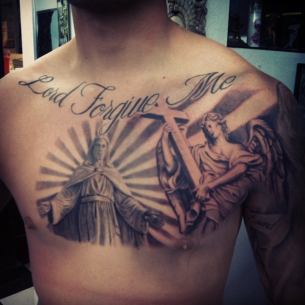 Jesus and the angel with a cross tattoo on chest