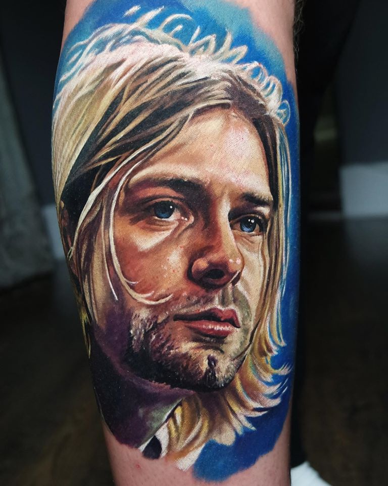 Kurt Cobain portrait tattoo