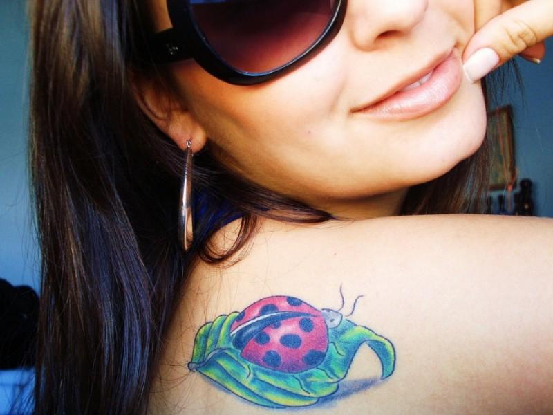 Ladybug on green leaf of grass tattoo on shoulder