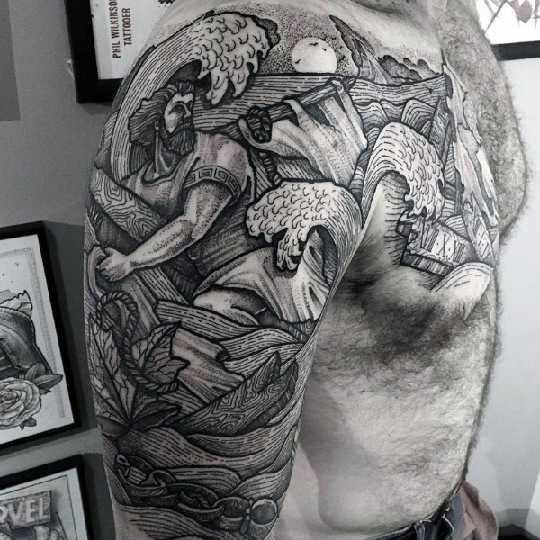 Large amazing looking engraving style shoulder and chest tattoo of antic sailor