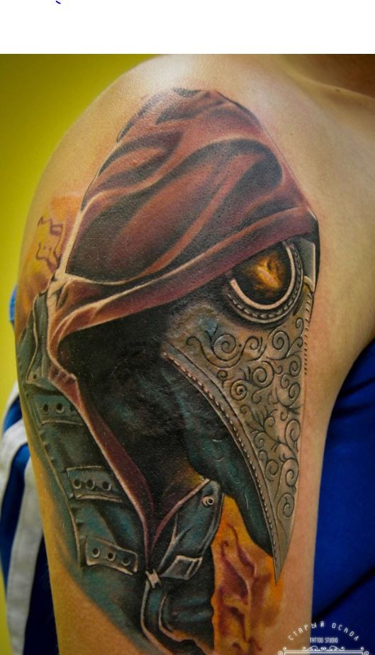 Large amazing looking plague doctor tattoo on shoulder