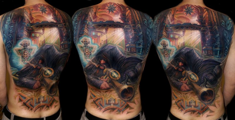 Large awesome looking colored whole back tattoo of fantasy sniper in city