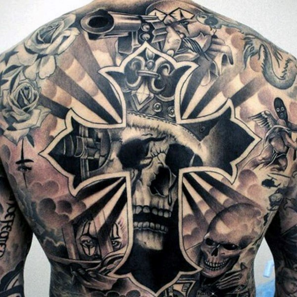 Large black ink back tattoo of human cross and king for Skeleton king tattoo