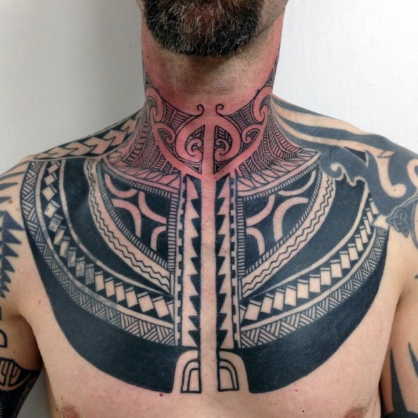 Large Black Ink Chest Tattoo Of Polynesian Ornaments