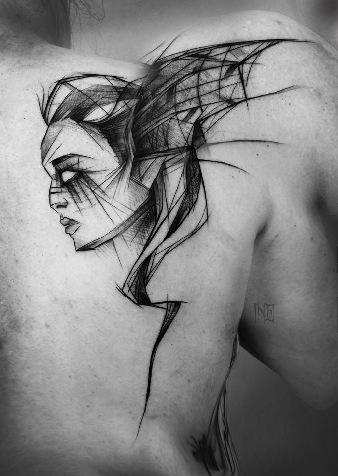 Große schwarze Tinte Fantasy Skizze Tattoo von Inez Janiak von Frau mit Fledermausflügeln