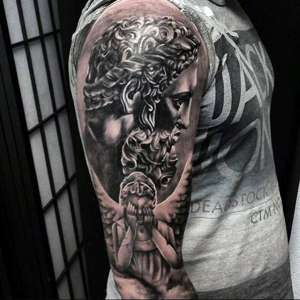 Large black ink shoulder tattoo of antic statue and angel