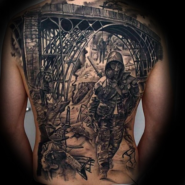 Large black ink whole back tattoo of old bridge with soldier in gas mask and samurai sword