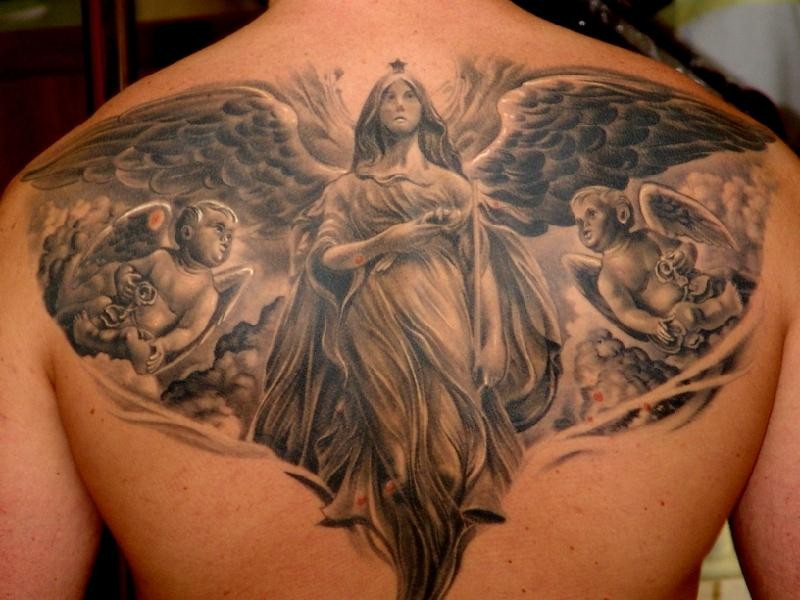 Large black ink whole back tattoo of angel statues