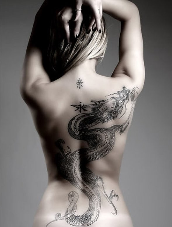 Large chinese black dragon tattoo on back