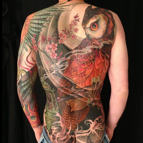 Large color tattoo owl