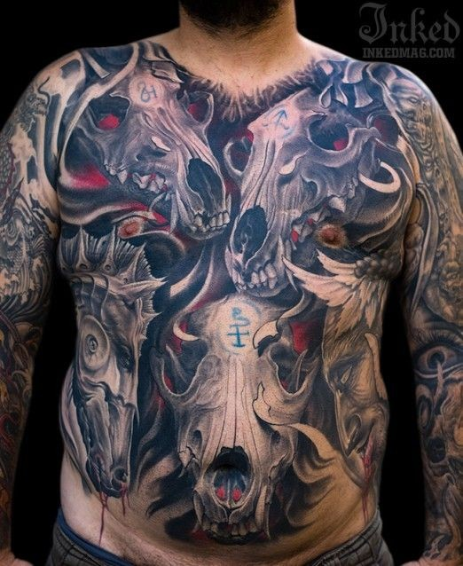 Large colored 3D style mystical various cult animals skulls tattoo on whole chest