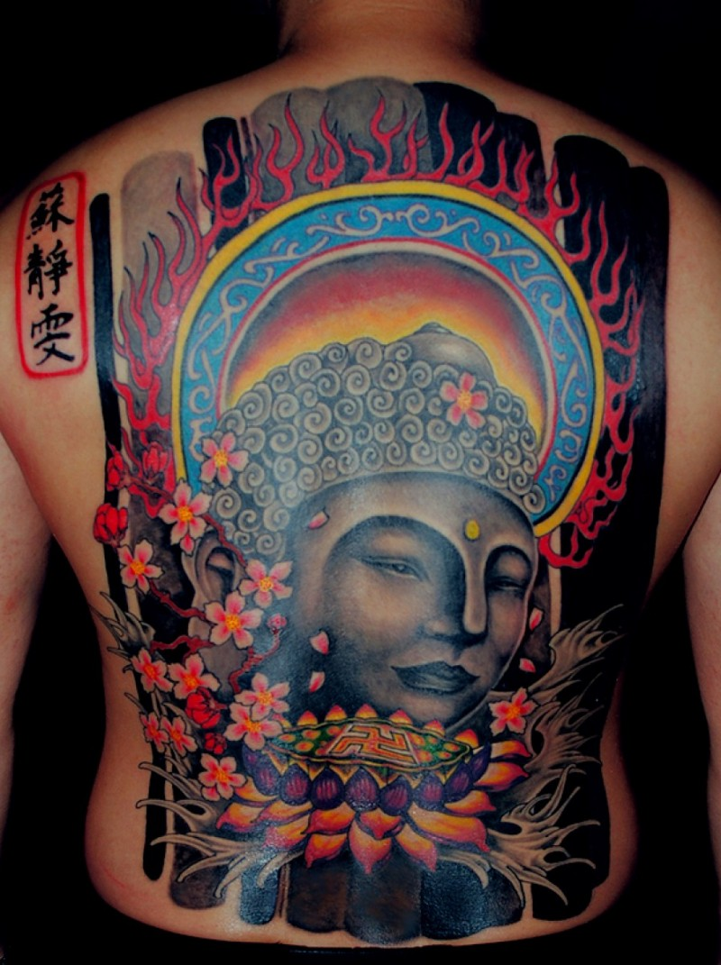 Large colored Asian style whole back tattoo of Buddha statue with lotus flower and lettering