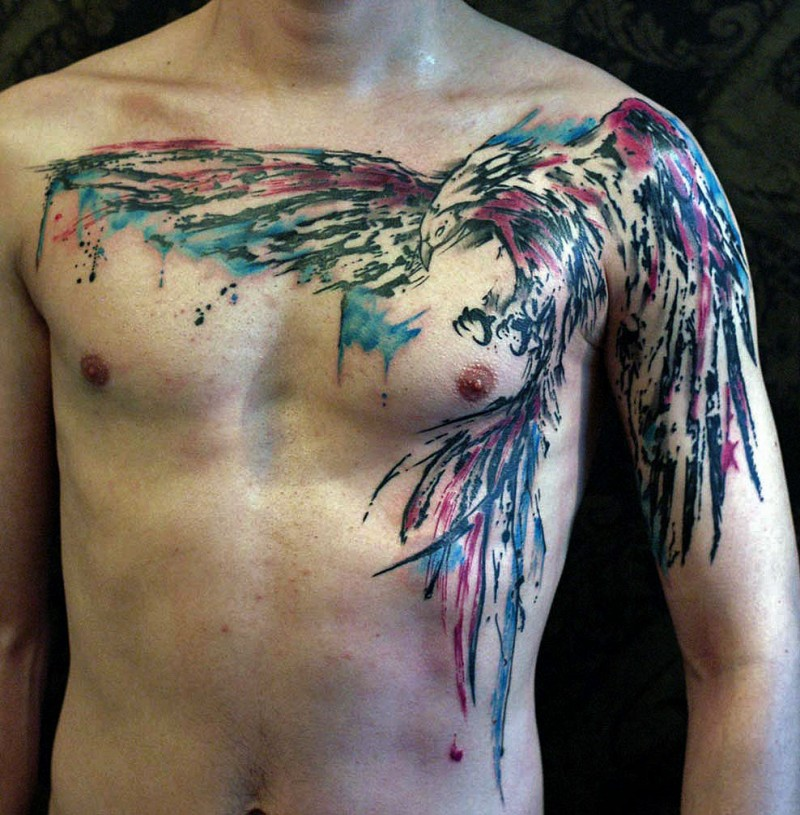 Large colored bird tattoo on chest for Color chest tattoos