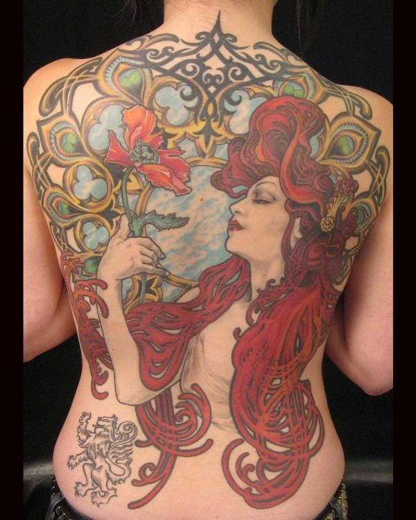 Large colored illustrative style whole back tattoo of beautiful woman with flowers