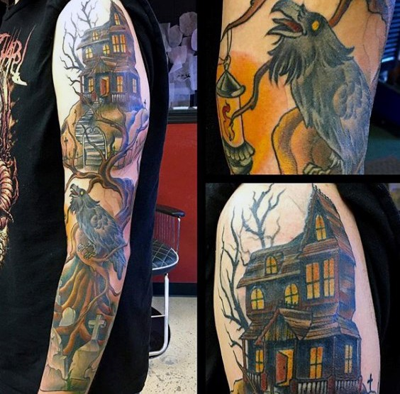 Large colored sleeve tattoo of abandoned house with crow on tree and cemetery