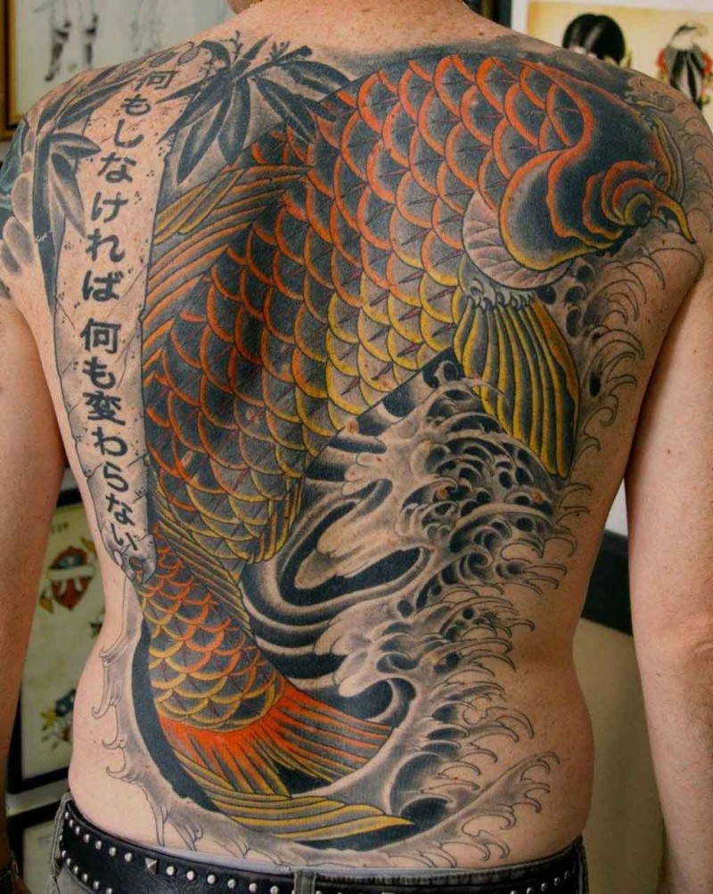 Large colored tattoo koi fish on whole back for Large coy fish