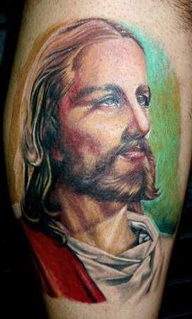 Large colored tattoo of Jesus portrait