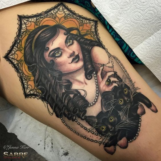 Large colored thigh tattoo of beautiful woman portrait with black cats