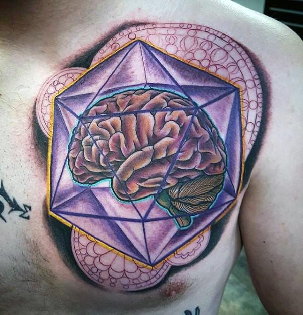 Large creative designed colorful chest tattoo of human brain in geometrical figure