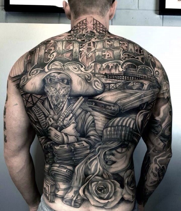 large detailed thigh style whole back tattoo of gangsta with money pistols and cars. Black Bedroom Furniture Sets. Home Design Ideas