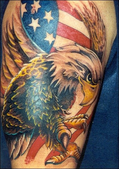 Large eagle on usa flag colored tattoo