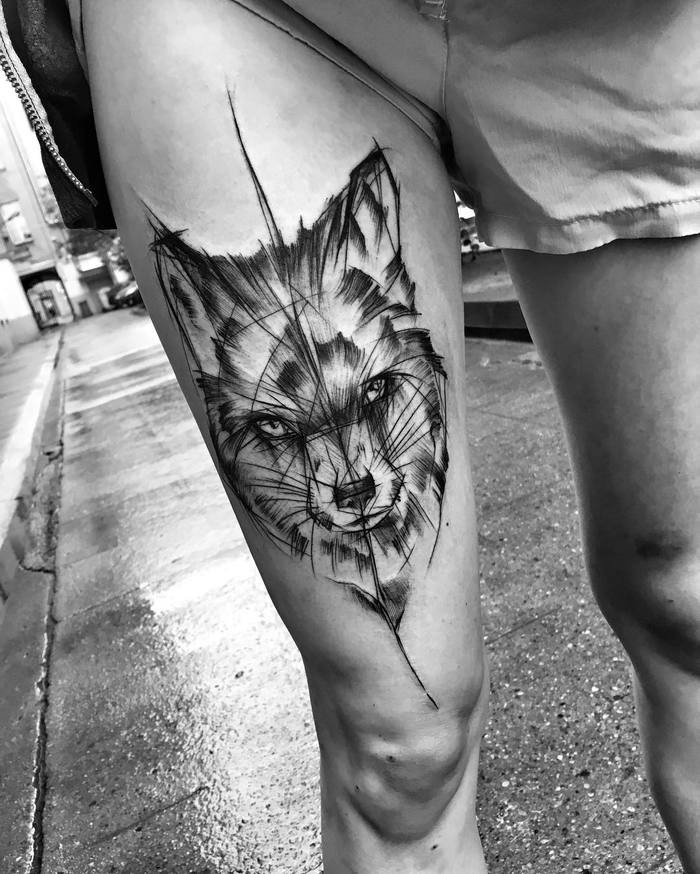 Large fox tattoo sketch painted in black work style by Inez Janiak on thigh