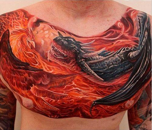 Large illustrative style chest tattoo of fantasy dragon and phoenix bird