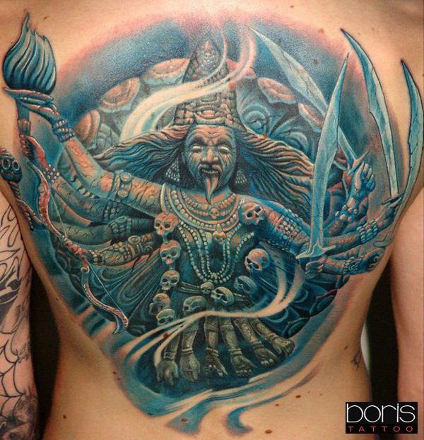 Large illustrative style colored back tattoo of Indian god with skulls