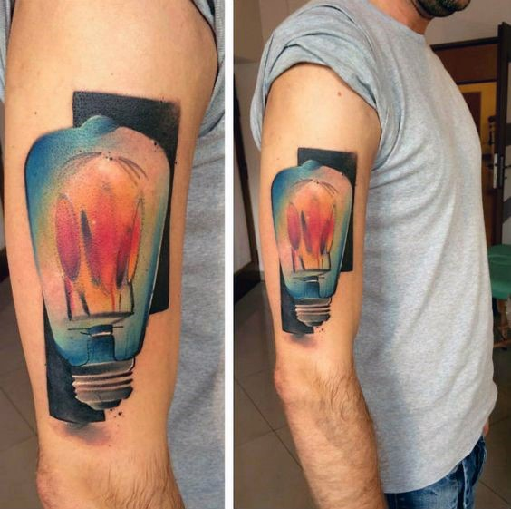 Large illustrative style colored shoulder tattoo of big bulb