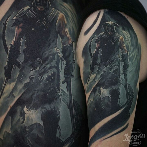 Large illustrative style shoulder tattoo of Skyrim dragonborn