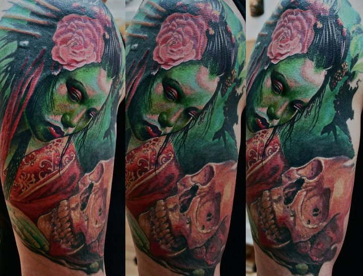 Large illustrative style shoulder tattoo of mystical woman portrait with flowers and skull