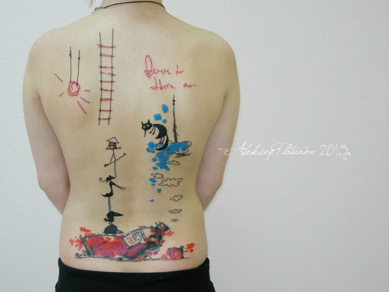 Large multicolored back tattoo of interesting ornaments with lettering