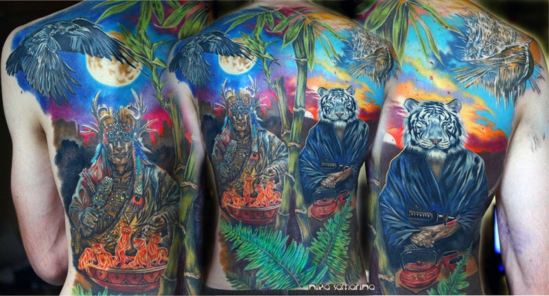 Large multicolored whole back tattoo of fantasy magician and human like white tiger