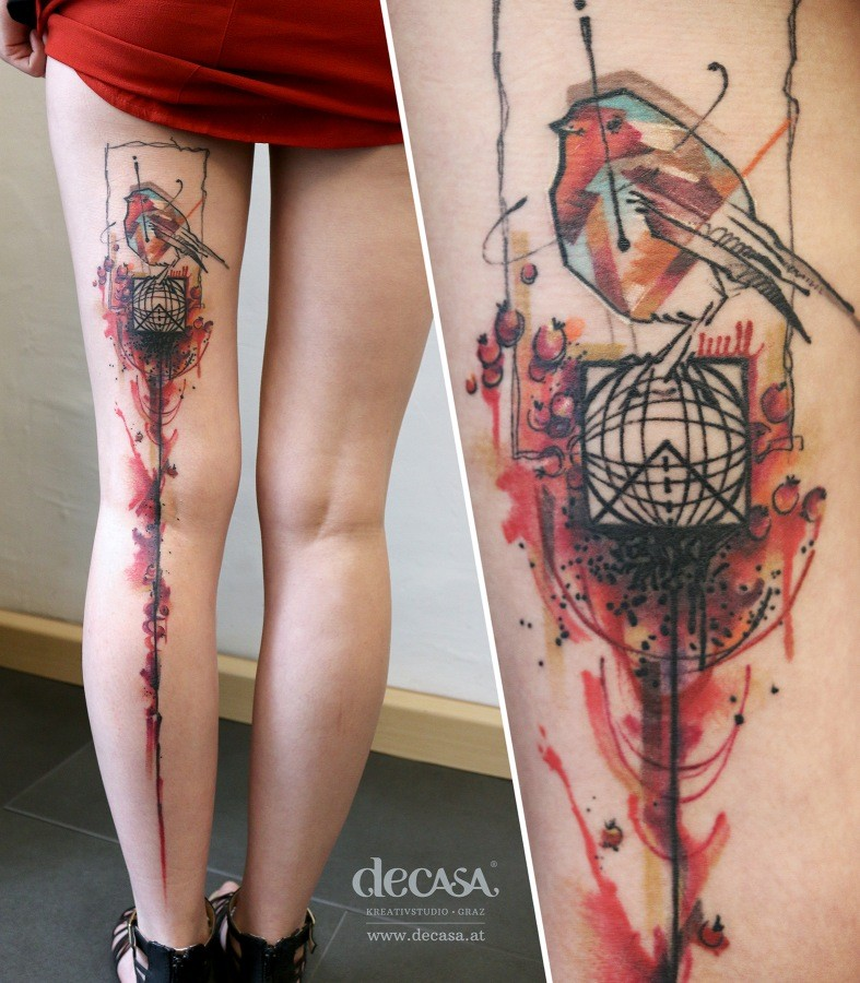 Large multicolored whole leg tattoo of superior bird and globe