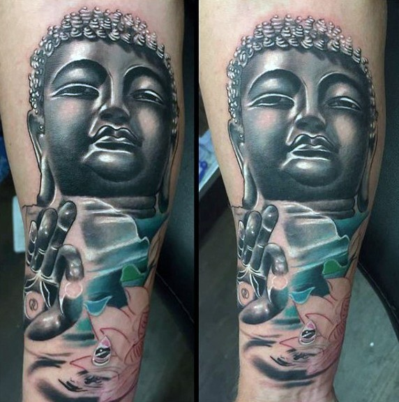 Large new school style colored Buddha statue tattoo on forearm combined with lotus flower