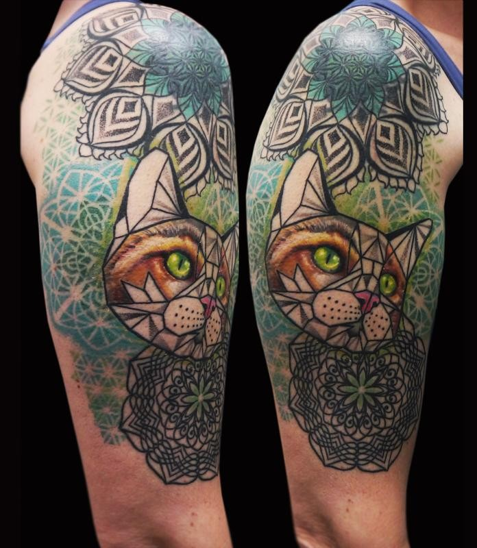 Large new school style colored shoulder tattoo of cat combined with floral ornaments
