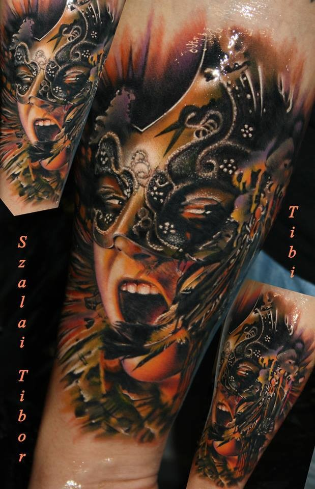 Large new school style colored tattoo of woman with mask