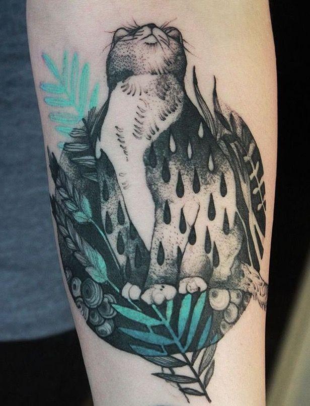 Grande bella colorata da Joanna Swirska il braccio del tatuaggio del gatto con varie piante