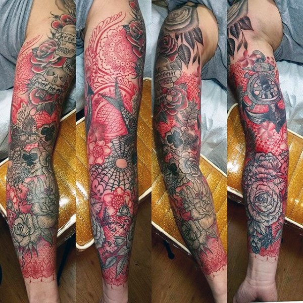 Large old school style colored sleeve tattoo of various ornamental flowers