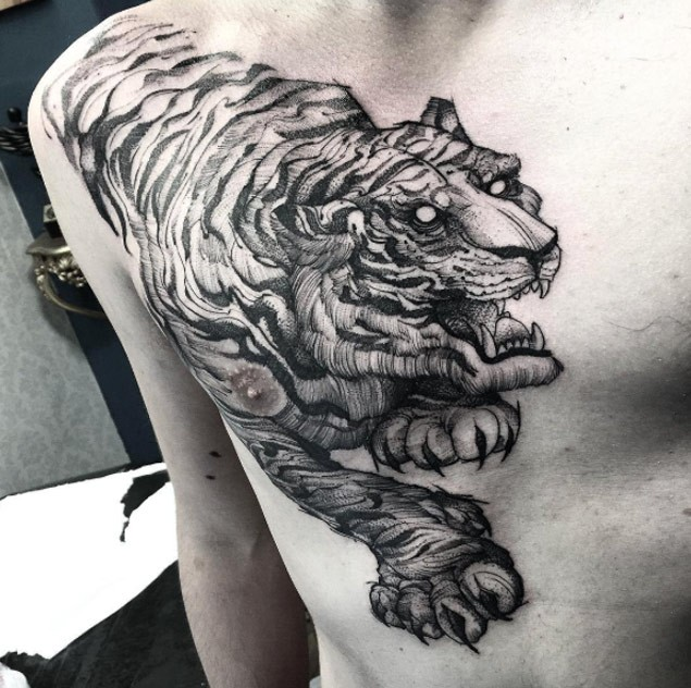 Large realistic looking black ink engraving style chest tattoo of big tiger
